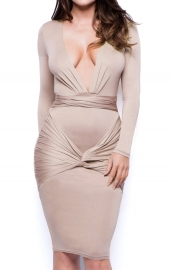 Sexy Deep V-Neck Long Sleeve Bodycon Dress Apricot