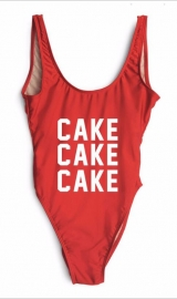 Fashion One Piece Letter Printed Bikini CAKE