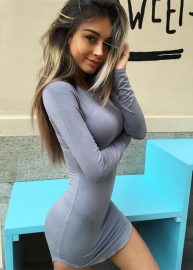 New Arrival Women Long Sleeves With Irregular Plus Size Sexy Bodycon Dress Grey