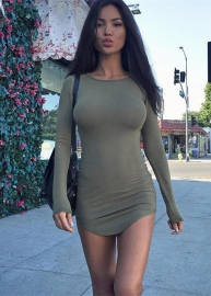New Arrival Women Long Sleeves With Irregular Plus Size Sexy Bodycon Dress Army Green