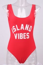 Fashion One Piece Letter Printed Bikini ISLAND VIBES Red