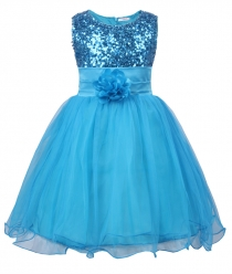Little Girls' Sequin Mesh Flower Ball Gown Party Dress Tulle Prom Blue