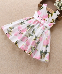 Girls Sleeveless Cotton Lemon Print Children Princes Dress Pink