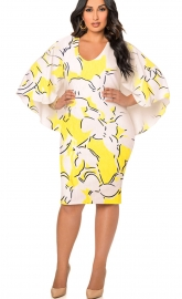 Women's Floral Print Long Sleeve Designer Dress Yellow