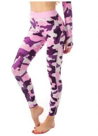 Women Fashion Yoga Sporty Camouflage Pants Pink