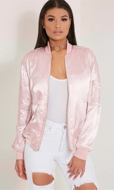 Women's Fashion Long Sleeve Zip Up Solid Bomber Jacket with Pockets Pink
