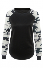 Women Camouflage Long Sleeve Shirt Casual Blouse T Shirt