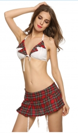 Womens School Girl Costume Erotic Bustier Mini Skirt Set