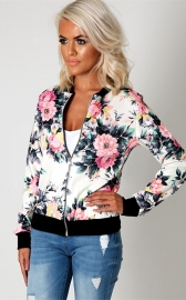 Women Stand Collar Long Sleeve Zipper Floral Printed Bomber Jacket White