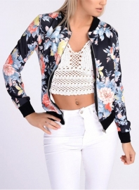 Women Stand Collar Long Sleeve Zipper Floral Printed Bomber Jacket Black