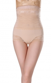 Womens Shapewear Briefs Lace High Waist Cincher Tummy Control Panties Apricot