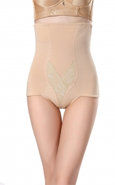 Women Tummy Control Butt Lifter Hi-waist Shapewear Panties Apricot