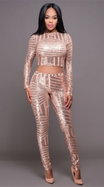 Women 2 Pieces Crops Sequin Bodycon Clubwear Party Pants Jumpsuit Set Gold