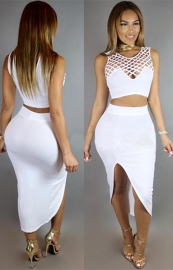 Womens Crop Midi Skirt Outfit Two Piece Bodycon Dress