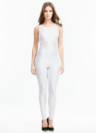 Mesh Stitching Stylish Jumpsuit White