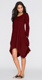 Women's Basic Long Sleeve Pockets Casual Swing Plain Tshirt Dress Wine Red