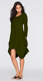 Women's Basic Long Sleeve Pockets Casual Swing Plain Tshirt Dress Army Green