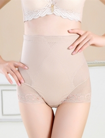 Women's Tummy Control Panties Lace Trim Sheer High Waist Brief Shapewear Apricot