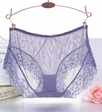 Ladies Sexy See-Through Panties Lace G-String T Pants Purple
