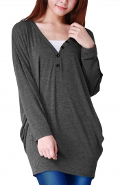 Women's V Neck Button Dipped Hem Long Sleeve Dress Grey