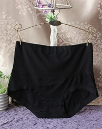 Womens Comfort High Waist Bamboo Fiber Brief Panty Black