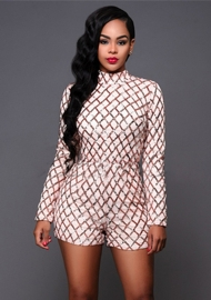 Women Sequins Long Sleeve Bodycon Romper Jumpsuit Clubwear White