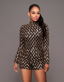 Women Sequins Long Sleeve Bodycon Romper Jumpsuit Clubwear Black