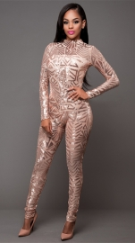 Women Sexy Sequin Jumpsuit Nude Illusion Slim Leg Pants Jumpsuits Rompers Gold