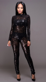 Women Sexy Sequin Jumpsuit Nude Illusion Slim Leg Pants Jumpsuits Rompers Black