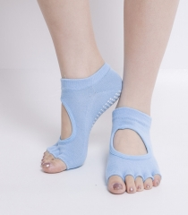 Toe Exercise Yoga Socks Pilates Barre Sock with Grip for Girl Women Light Blue