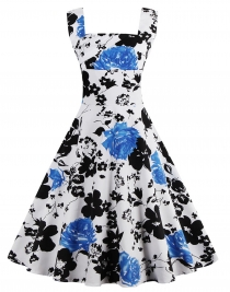 Vintage 1950's Floral Spring Garden Party Picnic Party Cocktail Dress Blue