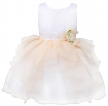 Toddler Girls' Ruffle Flower Party Pageant Princess Summer Dress Champagne
