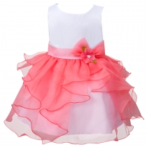 Toddler Girls' Ruffle Flower Party Pageant Princess Summer Dress Watermelon Red