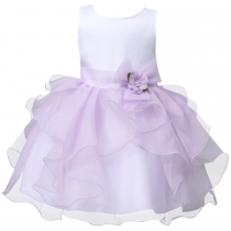Toddler Girls' Ruffle Flower Party Pageant Princess Summer Dress Purple