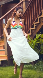 Womens Colorful Crochet Halter Backless Sheer Bohemian Beach Maxi Dresses
