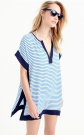 Colorblock Beach Tunic Swimsuit Cover Up Blue
