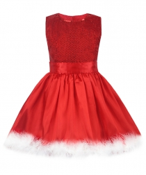 Little Girl Kids Red Dresses for Christmas Party