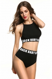 Women High Waist Bikini with Letter on Wasit Black
