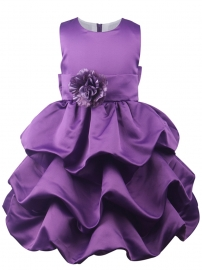 Little Princess Bridemaid Big Bowknot Flower Wave Ruffle Dress Baptism Purple