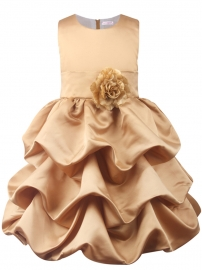 Little Princess Bridemaid Big Bowknot Flower Wave Ruffle Dress Baptism Gold