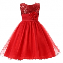 Little Girls' Sequin Mesh Flower Ball Gown Party Dress Tulle Prom Red