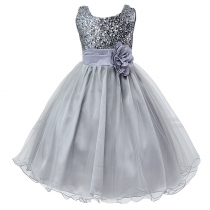 Little Girls' Sequin Mesh Flower Ball Gown Party Dress Tulle Prom Grey