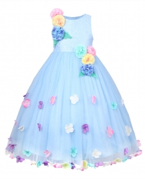 Girls Princess Wedding Pageant Flower Petals Dress with Bow Tie Sash