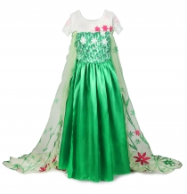 New Princess Party Dress Costume With Flower Cape Green