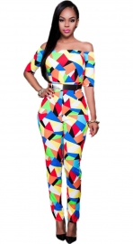 Women Monochrome Print Off Shoulder Jumpsuit(The Belt is not included)