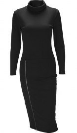 Womens Autumn Turtleneck Long Sleeve Side Zip Pencil Party Dress Black