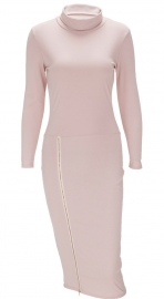 Womens Autumn Turtleneck Long Sleeve Side Zip Pencil Party Dress Pink