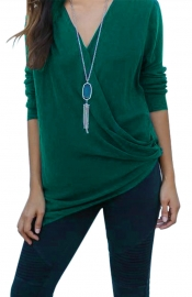 Women Sexy Deep V-Neck Long Sleeve T-Shirt Irregular Blouse Green