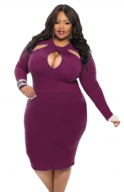 Women Plus Size Sexy Midi Dress Clubwear Party Cocktail Bodycon Purple