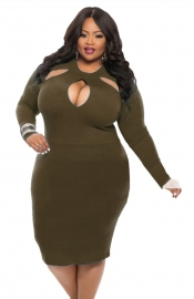 Women Plus Size Sexy Midi Dress Clubwear Party Cocktail Bodycon Army Green
